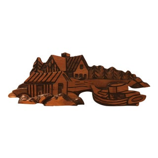 Vintage Witco Wall Sculpture, Cabin Scene For Sale