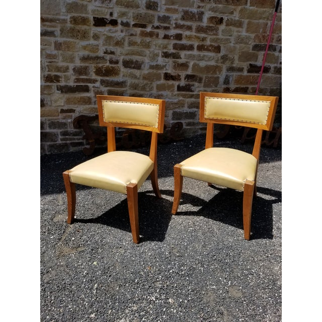 Pair of Yellow Leather Side Chairs by Ironies For Sale - Image 9 of 9
