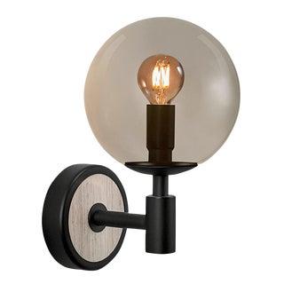 Lunar Satin Black and Smokey Glass Wall Light For Sale