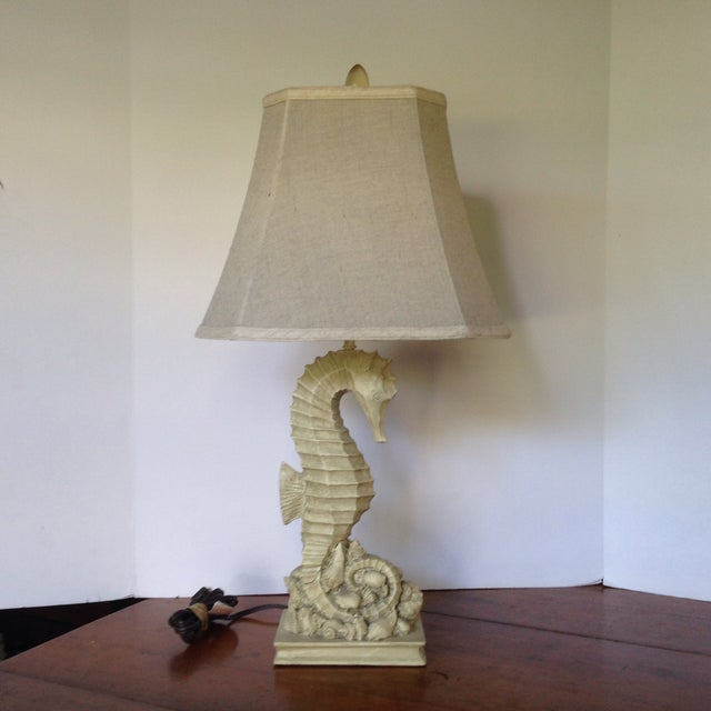 Boho Chic Vintage Seahorse/Seashell Table Lamp For Sale - Image 3 of 11