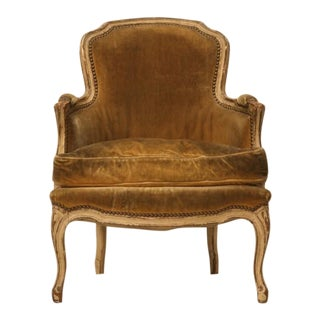 Antique French Louis XV Style Bergere Chair in Old Paint