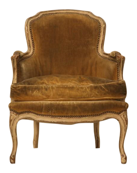 Antique French Louis XV Style Bergere Chair In Old Paint   Image 1 Of 11