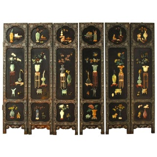Six Panel Chinese Lacquer & Jade Hardstone Screen