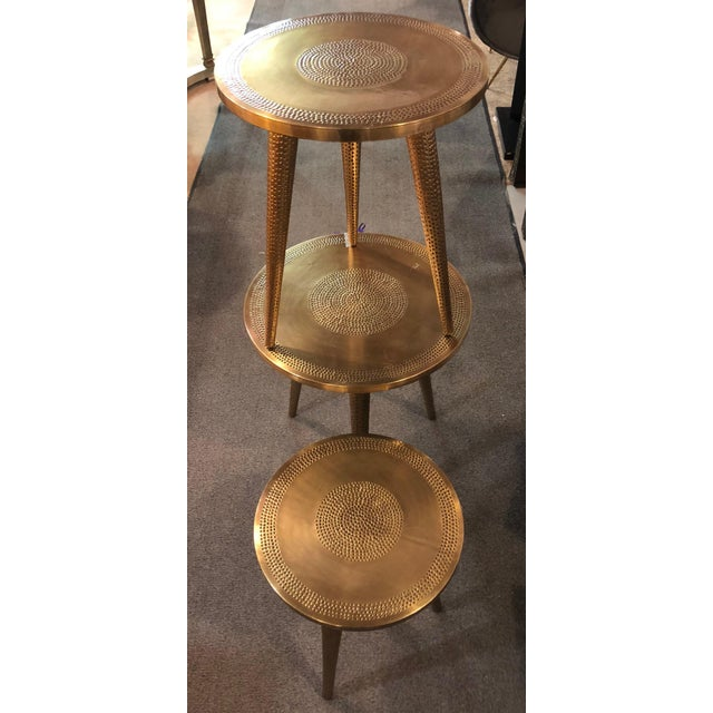 Brass Mid-Century Modern Style Brass Nest of Tables or End Tables, Nest of Three For Sale - Image 8 of 12