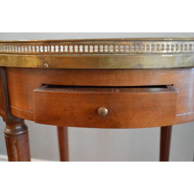 Louis XVI Style Mahogany Bouillotte Table With Original Marble Top For Sale In Buffalo - Image 6 of 9