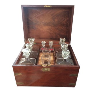 19th Century Campaign Brass-Bound Mahogany Liquor Cabinet For Sale