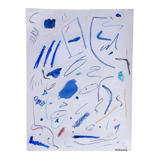 Blue and White Abstract by Virginia Chamlee For Sale