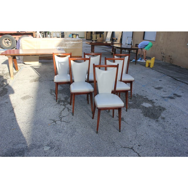 Set of 6 French Art Deco or Art Modern Solid Mahogany Dining Chairs Circa 1950s For Sale - Image 12 of 13
