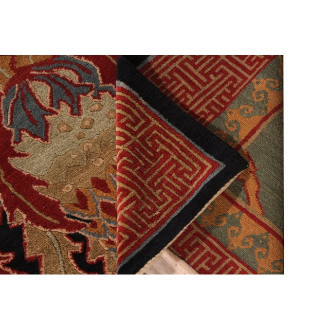 Hand-Knotted Vintage Floral Rug Red Green Pomegranate Pattern Rug by Rug & Kilim For Sale In New York - Image 6 of 7