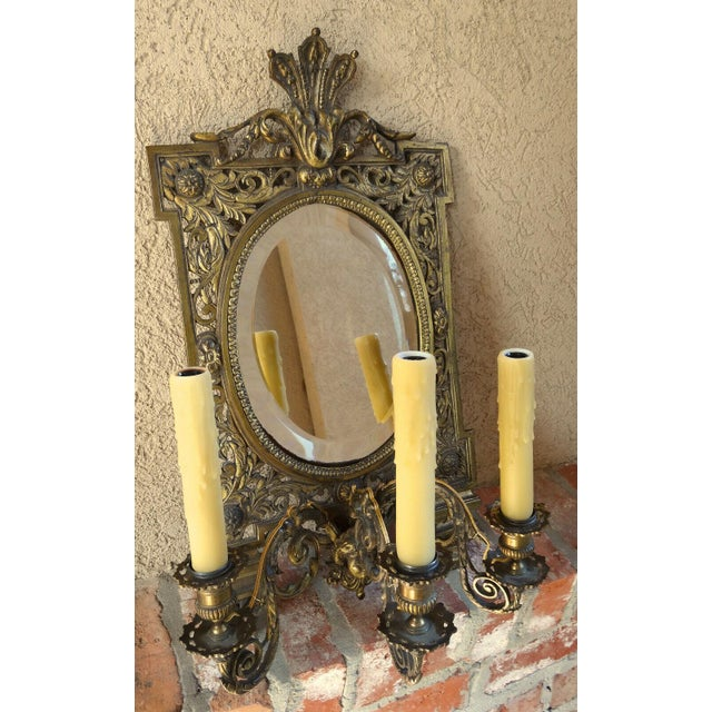 Gold Antique French Brass Wall Sconce Light Fixture Beveled Oval Mirror Art Nouveau For Sale - Image 8 of 12