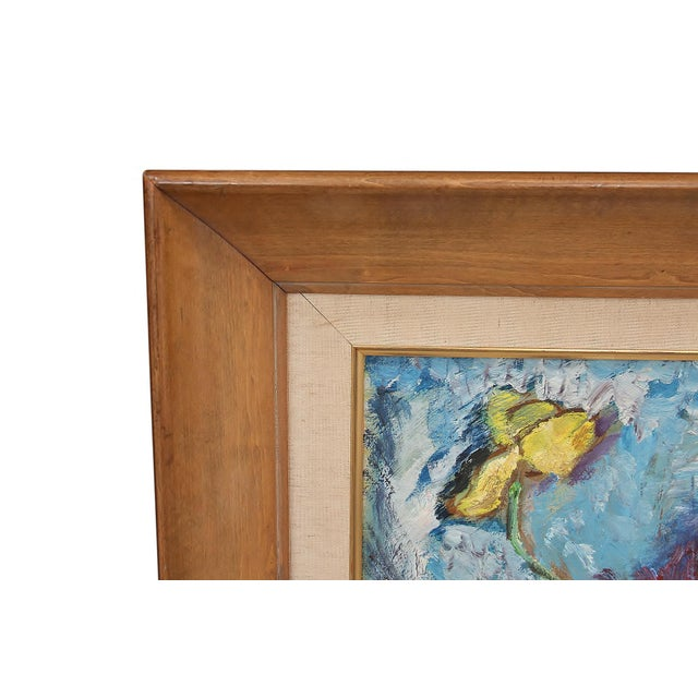 """1960's Signed """"Tulip"""" Still Life Oil on Board Painting For Sale In Tampa - Image 6 of 7"""