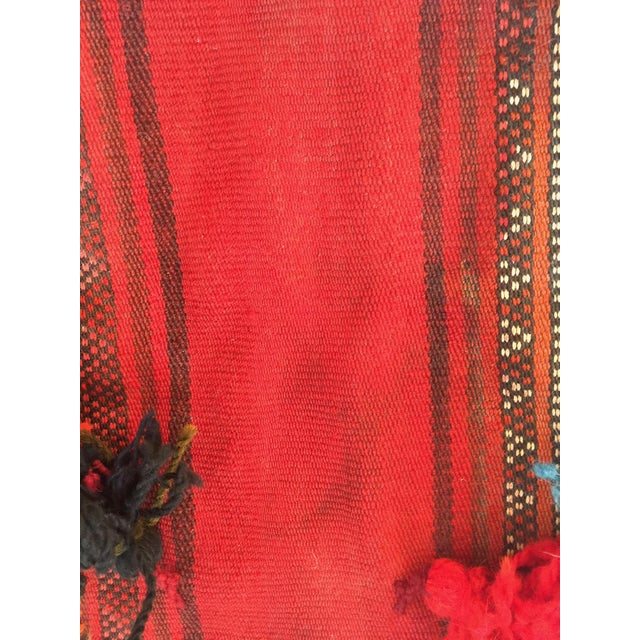 Vtg Ethnic Tasseled Woven Bag Wall Hanging Not sure what country this is from. Heavy wool woven bag. Front side has...