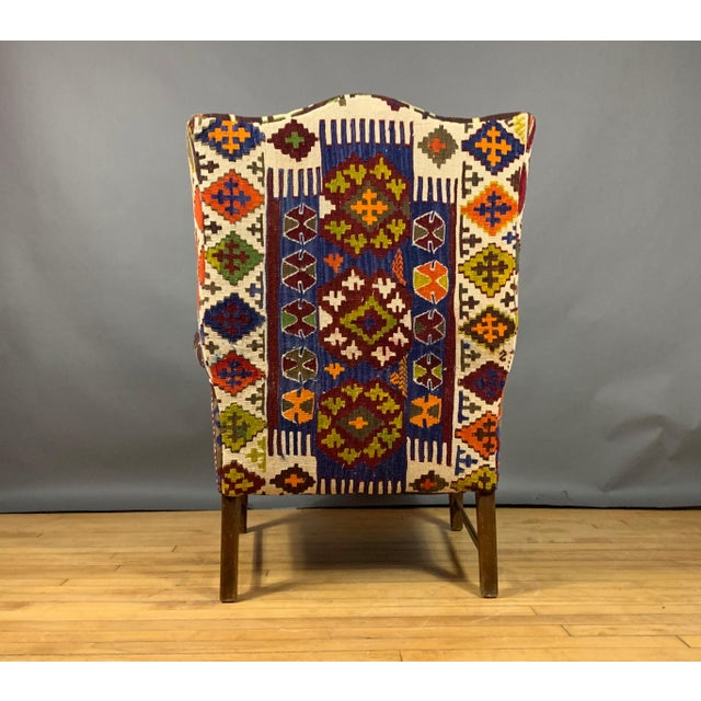 1940s Danish Wingchair, Semi-Antique Turkish Kilim Cover For Sale - Image 10 of 12