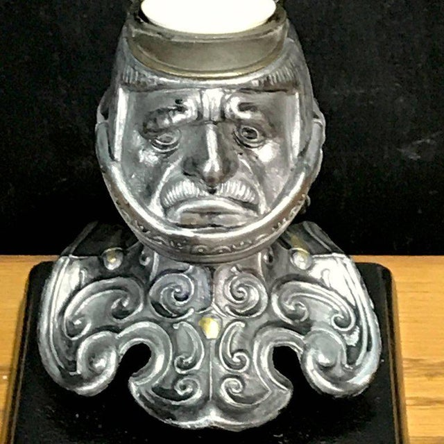Early 20th Century Tole Figural Knight Inkwell For Sale - Image 5 of 11