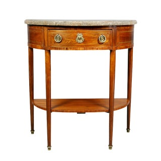 Louis XVI Tulipwood Demilune Console Table For Sale