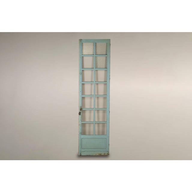 Blue Pair of Antique French Original Paint Doors, Circa 1800s For Sale - Image 8 of 10