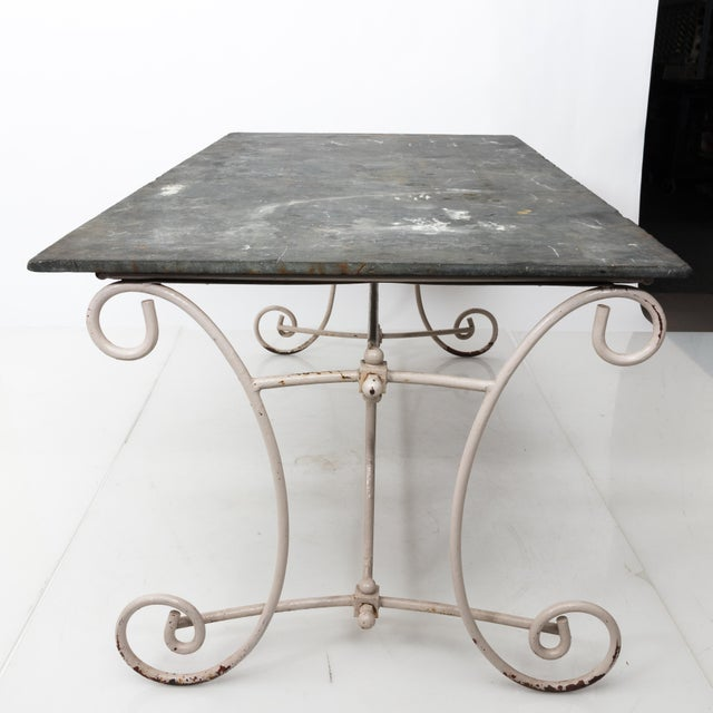 White Scroll Base Garden Dining Table For Sale - Image 10 of 11