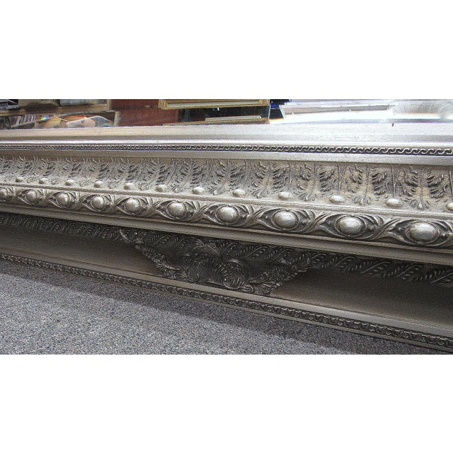 """Silver 89"""" High Silver Gilded Beveled Glass Floor Mirror For Sale - Image 8 of 12"""