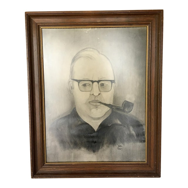 """Man With Pipe"" Mid Century Graphite Portrait - Image 1 of 5"