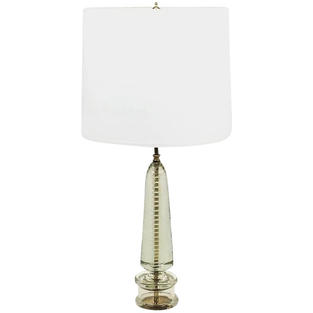 Controlled Bubble and White Spiral Murano Glass Table Lamp, Style of Seguso For Sale