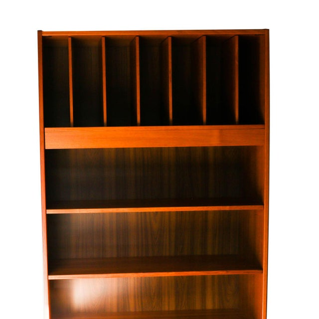 Glass Mid Century Danish Tall Teak Vinyl Storage Cabinet For Sale - Image 7 of 9