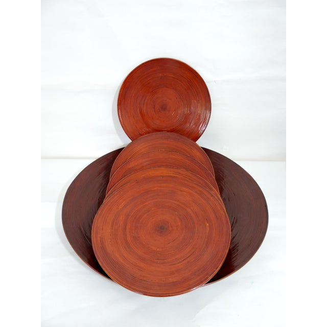 Bamboo Vintage Burmese Red Lacquer & Bamboo Plates and Charger - Set of 7 For Sale - Image 7 of 10