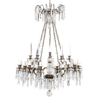 French 19th Century 15-Light Bronze Crystal Chandelier For Sale