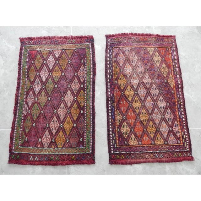 Oxblood Red Pair Handwoven Turkish Kilim Rug Pastel Colors Area Rug Petite Braided Kilim - 1′8″ × 2′9″ For Sale - Image 8 of 9