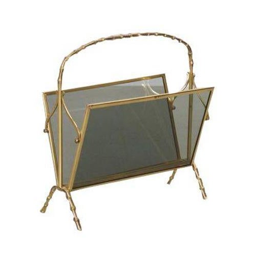 Gold Maison Bagues Brass and Glass Faux Bamboo Magazine Rack For Sale - Image 8 of 8