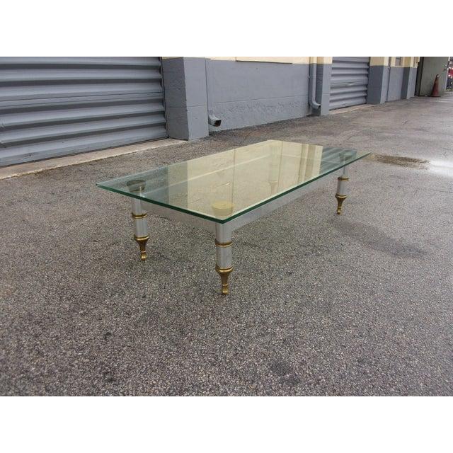 Mid-Century Aluminum & Brass Coffee Table - Image 3 of 11