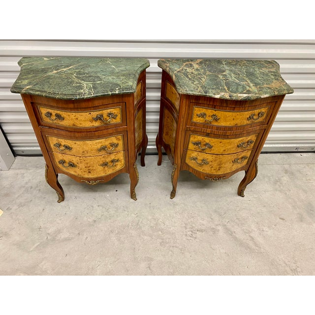 1950s Vintage French Marble Top Nightstands - a Pair For Sale - Image 5 of 12