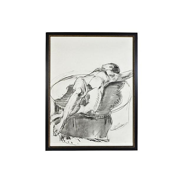 Reclining Nude on Blanket Drawing - Image 1 of 2