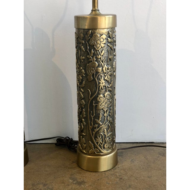 Mid Century Westwood Brass Floral Table Lamps For Sale In San Francisco - Image 6 of 7