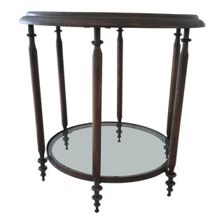 Uttermost Round Golden Brown Finish With Gray Glaze Table
