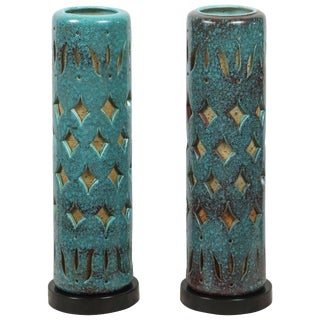 1960s Teal Pierced Ceramic Lamps - a Pair For Sale