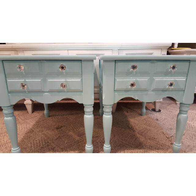 Vintage Mersman solid wood boho chic nightstands. Matching Bedside tables with Glass knobs painted Sherwin williams Spa...