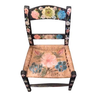 Vintage Hand Painted Mexican Child's Chair For Sale