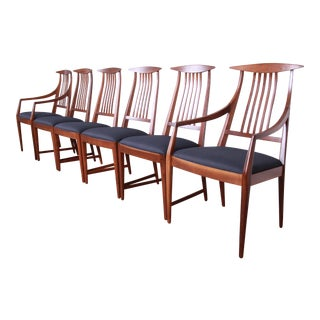 Kipp Stewart for Calvin Furniture Sculpted Walnut Dining Chairs - Set of 6 For Sale
