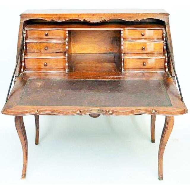 Wonderful 18-19c. fruitwood inlaid Italian slant-top writing desk on tapered cabriole legs, 3 front drawers, leather...
