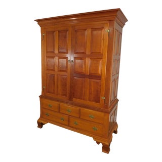 Chippendale Style Large Custom Crafted Walnut Pennsylvania Linen Press Entertainment Cabinet For Sale