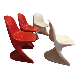 1970s Modern Casalino Red & White Children's Chairs - Set of 4 For Sale