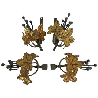 Steel and Bronze Ivy Leaf Curtain Hardware - Set of 4