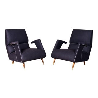 A Pair of George Jetson Style Upholstered Club Chairs For Sale