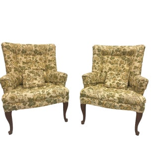 1970s Vintage Green Floral Chairs- A Pair For Sale