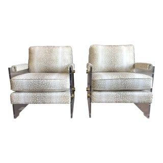 Contemporary Parker & Hyde Fawn Print Lucite Arm Chairs - a Pair