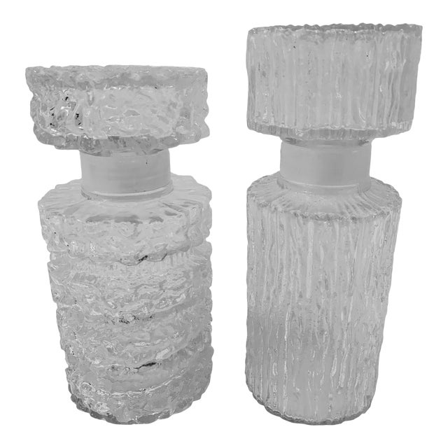 Brutalist Glass Decanters - a Pair For Sale