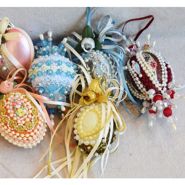 Vintage Fancy Beaded Christmas Tree Ornaments - Set of 7 For Sale - Image 4 of 7