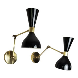 Blueprint Lighting Italian Modern Brass & Enamel Ludo Sconce For Sale