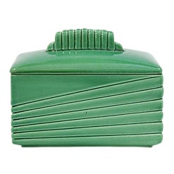 Mid-Century French Majolica Butter Dish For Sale