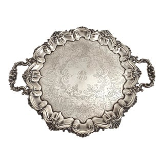1910 Antique English Silver Footed Serving Tray For Sale